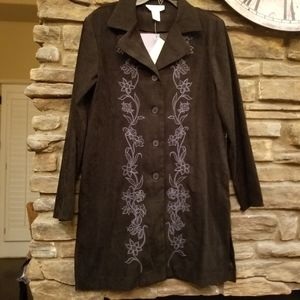 NWT SUSAN GRAVER SMALL Black faux suede Jacket